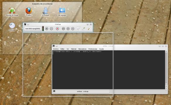 Imagen del programa XVidCap en KDE 4.5, OpenSuse 11.3 Linux
